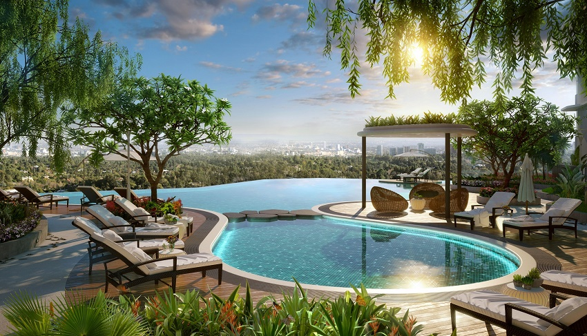 Bể bơi vô cực chung cư the zen residence