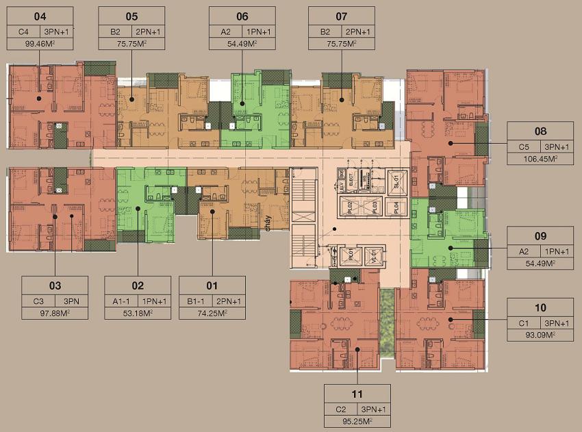 mỗi tầng chung cư The ZEN Residence có 11 căn hộ, 6 thang máy