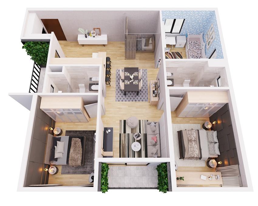Thiết kế căn hộ 3 phòng ngủ chung cư The ZEN Residence