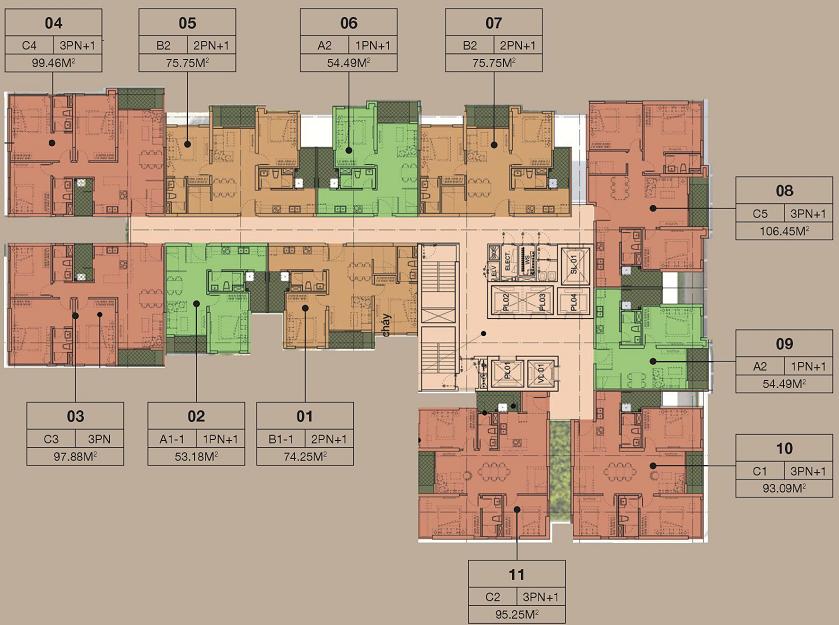 Mặt bằng tầng chung cư The ZEN Residence