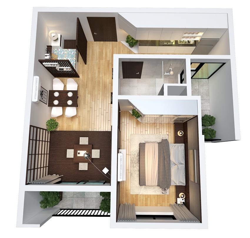 Thiết kế căn 1 phòng ngủ 54M2