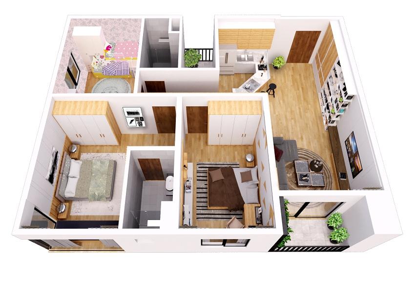 Thiết kế căn hộ 98m2 chung cư Gamuda The ZEN Residence